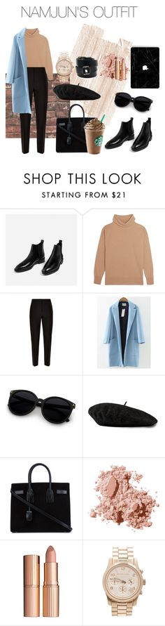 """kim namjun's look"" by makeemwhistle on Polyvore featuring Iris & Ink, Jaeger, WithChic, Gucci, Yves Saint Laurent, Bobbi Brown Cosmetics, Charlotte Tilbury, Michael Kors и Hermès"
