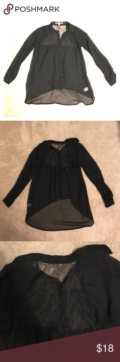 Black Lauren Conrad blouse Button up, collared black blouse with lace detail on back. Longer hem in back. Worn only 2 times! LC Lauren Conrad Tops Blouses