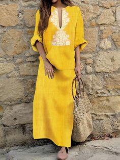 b0c31f2977 Shawl Collar Women Summer Dress A-line Daytime Half Sleeve Elegant Dress