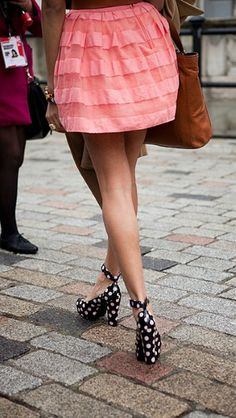 very girly pink ruffle skirt and #polka #dot pumps : #lovewearyoulive