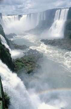 Iguazu Falls.  Iguazu Falls are waterfalls of the Iguazu River on the border of the Brazilian state of Paraná and the Argentinian province of Misiones.