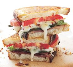Grilled cheese with prosciutto, basil, and heirloom tomato