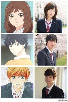 Blue Spring Ride anime versus live action movie actors: Futaba, Kou, Touma