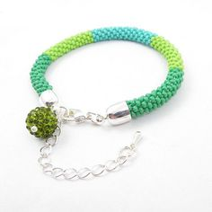 Beads crochet rope bracelet , beadwork jewelry , beaded bracelet , green and blue