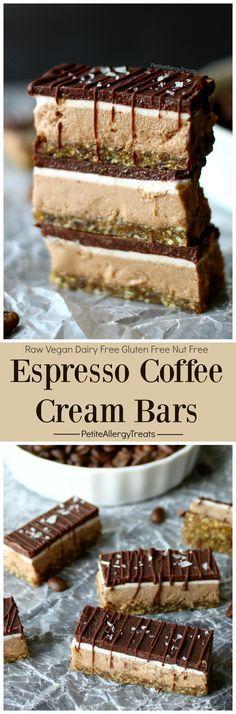 Raw Espresso Coffee Cream Bars Recipe (Dairy Free Vegan Raw)- Creamy chocolate energy filled gluten free nut free bar. Food allergy friendly. | Posted By: DebbieNet.com