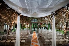 gorgeous evening wedding ceremony at the Sunset Luxe Hotel, LA