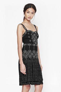French Connection Diamond Fringe Beaded Dress Black Size UK 12 SA172 GG 15