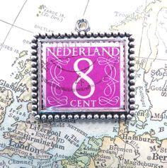 Vintage Purple 8 Cent Netherlands Postage Stamp Necklace by 12be, $14.50
