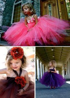 Vestidos de tul y tutus para niñas de flores {Vestidos de Pink Giraffe Bowtique Etsy Shop}