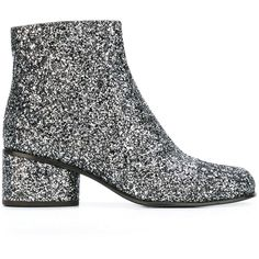 Marc Jacobs 'Camilla' glitter ankle boots ($465) ❤ liked on Polyvore featuring shoes, boots, ankle booties, grey, leather booties, square toe boots, gray boots, gray ankle boots and low heel ankle boots