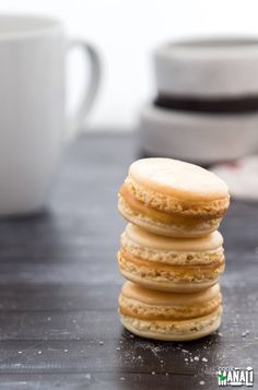 Salted Caramel Macarons - classic french cookies with a salty caramel center!