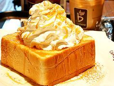Honey Bread from Korea This bread is basically Korea's version of french toast. French toast on steroids. Not only is it double to triple the thickness of regular toast, it's infused with honey, topped with caramel sauce, cinnamon, and whipped cream.
