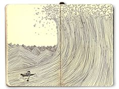 The final of this series, paying respect to The Great Wave Off Kanagawa , the famous Japanese woodblock print.