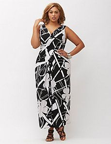 PLUS SIZE TRICKS...pattern with angles and stripes reduces size ...narrow top that flows wide reduces size again....balance tight top with flowing skirt or loose top with tight skirt...there has to be a choice to focus on your best asset...then it looks beautiful  Simply Chic Draped Maxi Dress