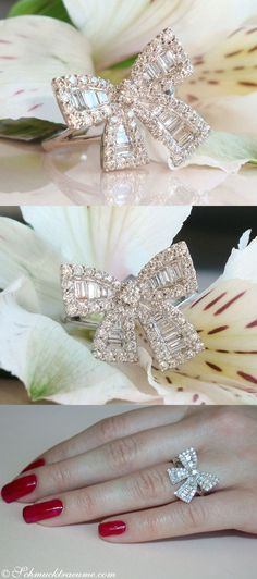 Cute Diamond Bow Ring, 1,11 cts. H-SI1/2, WG18K - Find out: http://schmucktraeume.com - Like: https://www.facebook.com/pages/Noble-Juwelen/150871984924926 - Contact: mailto:info@schmucktraeume.com
