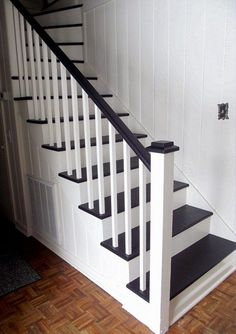 Stairs painted diy (Stairs ideas) Tags: How to Paint Stairs, Stairs painted art, painted stairs ideas, painted stairs ideas staircase makeover Stairs+painted+diy+staircase+makeover Black Stair Railing, White Staircase, Staircase Design, Staircase Ideas, Stair Risers, Railing Ideas, Carpet Staircase, Modern Staircase, Stairs Painted White