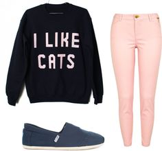 """I like Cats."" by chloepeachey ❤ liked on Polyvore"