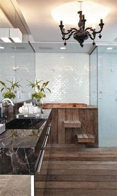 Apartamento Higienópolis / Rosenbaum® #banheiro #bathroom #ofuro #wood #wall #mirror #lighting