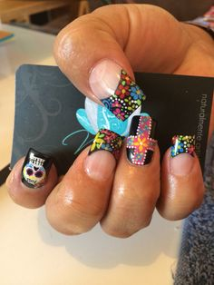 Nails art, acrylic nails, nails, dia de muertos nails
