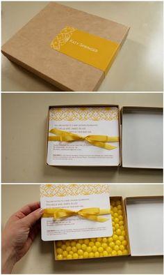 """LEMON-HEAD BOX INVITATION confetti instead of the lemon heads!?! """"cue the confetti"""""""