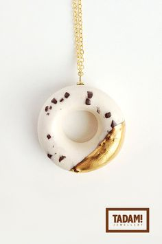Milky Mini Donut with Chocolate Bits in Golden Glaze - handmade ceramic pendant necklace with with gold over sterling silver chain via Etsy