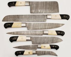 7 Pieces Custom Hand Made Damascus Kitchen Knives set