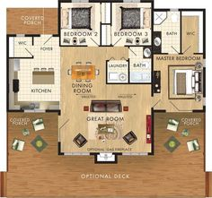 floor plan: 3 bdrms ...make master shower larger, enclose covered porch for lrgr entry mudroom/utility area, can make deck area smaller if space requires