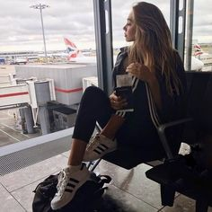 alexis ren, airport, and adidas image