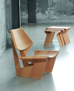 Molded plywood chair and matching nesting tables by Grete Jalk, re-introduced by Lange Production, Copenhagen