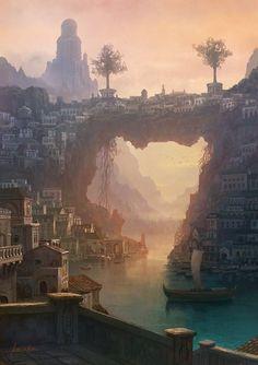 Fantasy landscape cities scenery rpg Ideas for 2019 Fantasy City, Fantasy Places, Fantasy Kunst, Fantasy World, Fantasy Concept Art, Fantasy Artwork, Skyrim Concept Art, Digital Art Fantasy, Game Concept Art