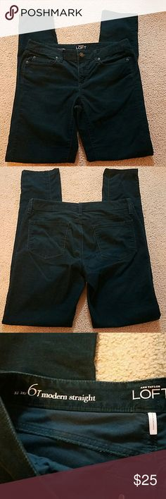 LOFT Corduroy Pants Modern Straight, Size 28/6 Tall, Dark Green, 67% Cotton/30% Polyester/3% Spandex. Inseam 32. Waist measures 16 inches lying flat. Rise 8.5 inches. One flaw just below right front pocket. Its not a hole. See last picture. LOFT Pants Straight Leg