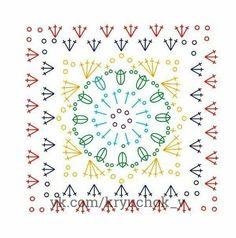 Free Crochet circle-to-square motif Blanket Pattern Crochet Quilt, Crochet Blocks, Granny Square Crochet Pattern, Crochet Diagram, Crochet Squares, Crochet Chart, Crochet Granny, Crochet Blanket Patterns, Crochet Motif