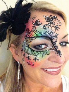 Mask mardi gras face paint - Rachels face painting  https://www.facebook.com/PartytimeFacePaintingNailsAndFantasyMakeovers?ref=hl