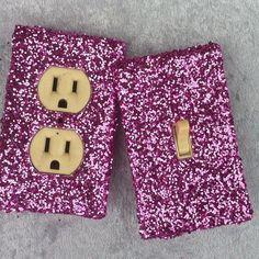 Hot Pink Glitter Switchplate