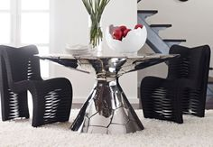 Table Round Stainless Steel Crazy Cut, Black Lines available at Saya Couture & Decor