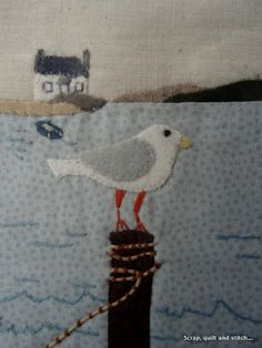 Embroidery Techniques, Embroidery Stitches, Beach Quilt, Fabric Postcards, Bird Quilt, Applique Quilts, Fabric Art, Fabric Scraps, Pin Cushions