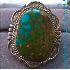 "💚Vintage Navajo Turquoise Sterling Silver Ring Amazing vintage Navajo Signed Turquoise Sterling Silver Ring, Size 8. Beautiful, big, bold, and fabulous wearable work of art handmade by Will Denetdale, a highly lauded and respected Navajo jewelry artist. The turquoise gemstone is vibrant and captivating, inlaid into the intricately detailed & exceptional hand stamped setting. ""Stamped W. Denetdale Navajo Sterling"". Ring face measures 1.5"" length x 1""width. This ring is a showcase of…"
