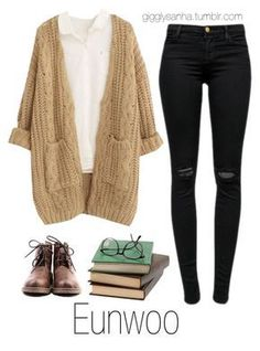 """""""Bookstore // Eunwoo"""" by suga-infires ❤ liked on Polyvore featuring Chicnova Fashion and J Brand"""