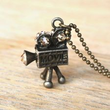 10% SALE Necklace, Miniature Movie Video Camera, Retro, Antique, Brass, Kawaii, Itty Bitty, Pendant Necklaces Gift