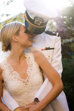 Reminds me of my son's wedding to his blonde bride!  (Yes, him in a Naval Officer Uniform!)