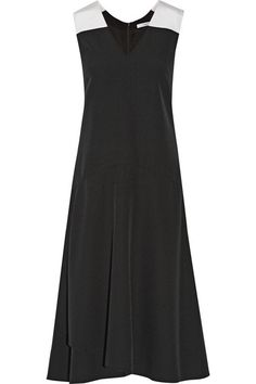 TOME Black & Ivory Silk faille-trimmed crepe midi dress $798, available here: rstyle.me/n/32gaamtu6