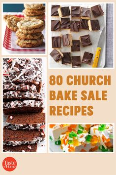 A good old-fashioned church bake sale is hard to beat. These heavenly cookies, bars, breads and pies will inspire you to bake up a few batches of the delicious money-makers at home. Bake Sale Recipes, Bar Recipes, Delicious Cookie Recipes, Yummy Cookies, Strawberry Oatmeal, Pecan Pie Bars, Money Makers, Chocolate Glaze, Dessert Bars