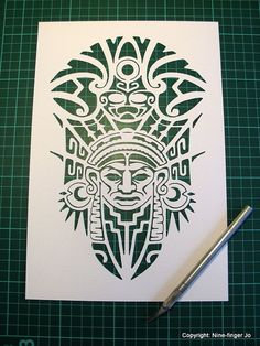 Paper Cut Papercutting Paper Cutting Papercut Art by NineFingerJo Aztec Mask, Mayan Tattoos, Aztec Tattoo Designs, Paper Cutting Templates, Chicano Art, Stencil Art, Mexican Art, Art Plastique, Tribal Art