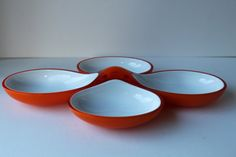 Guzzini Interlocking Acrylic Orange Bowls, Lucite, Mid Century Modern, Space Age, Eames Era on Etsy, $35.00