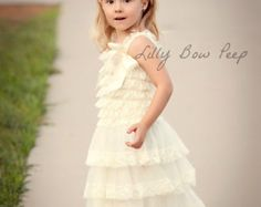 Flower Girl Dress Baptism Dress-Ivory Lace by LillyBowPeep