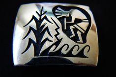 HOPI tLd Trini Lucas Sterling Silver 925 Belt Buckle Corn & Kokopelli Dancer #Hopi #Southwest