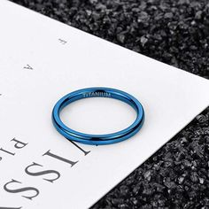 This Exquisite and Lovely Blue Dome Polished Ring is made of real titanium. Comfortable and exquisite craftsmanship, crazy blue polished design, not only comfortable to wear, but also eye-catching. It is durable and does not cause skin irritation. Engraving Fonts, Custom Engraving, Minimalist Earrings, Minimalist Jewelry, Gold Bar Earrings, Ink Pads, Blue Rings, Wedding Bands, Wedding Ring