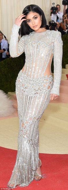 Nailed it! Kylie Jenner made her Met Gala debut in a stunning beaded Balmain dress...