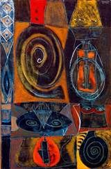 """Adolph Gottlieb (1903-1974), one of the """"first generation"""" of Abstract Expressionists, was born in New York in 1903 to Jewish parents. Gottlieb and a small circle of friends valued the work of the Surrealist group that they saw exhibited in New York in the 1930s.  His images appear similar to those of indigenous populations of North America and the Ancient Near East. If he found out one of his symbols was not original, he no longer used it."""