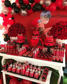 Frozen Birthday Party, 6th Birthday Parties, Baby Birthday, Miraculous Ladybug Party, Ladybug 1st Birthdays, Cute Birthday Ideas, Ladybug Cakes, Bubble Guppies Birthday, Birthday Decorations